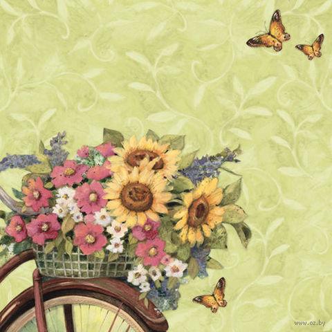 """Бумага для скрапбукинга """"Весна. Цветы на велосипеде"""" (310х310 мм; 12 листов)"""