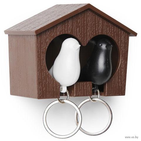 """Брелок-свисток и держатель двойной для ключей """"Sparrow"""" (коричневый/белый/черный)"""
