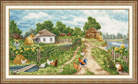 "Вышивка крестом ""Деревенька"" (274х501 мм) — фото, картинка"
