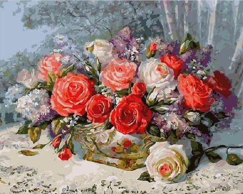 "Картина по номерам ""Корзинка с розами"" (400х500 мм) — фото, картинка"