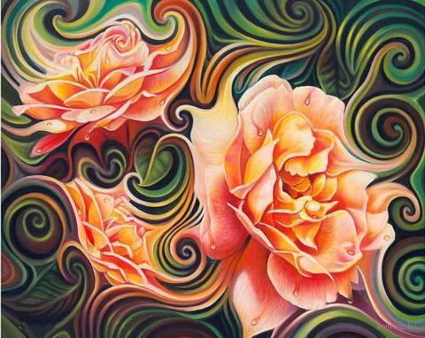 """Алмазная вышивка-мозаика """"Розы в абстракции"""" (500x400 мм) — фото, картинка"""