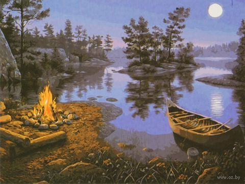 "Картина по номерам ""Костер у ночного озера"" (400x500 мм)"