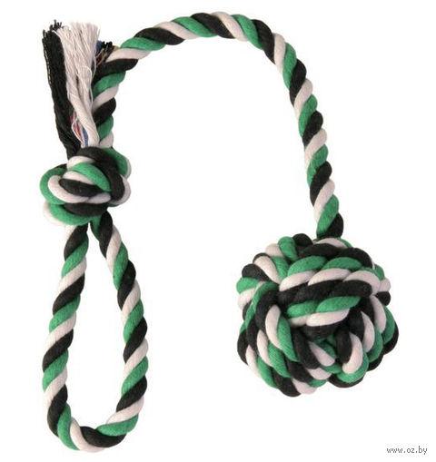 """Игрушка для собак """"Веревка с узлом и ручкой"""" (50 см) — фото, картинка"""