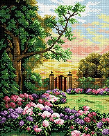 """Алмазная вышивка-мозаика """"Уютный двор"""" — фото, картинка"""