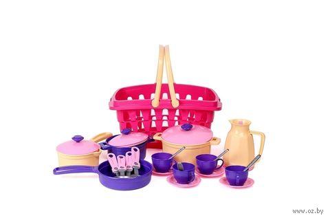 """Игровой набор """"Посуда в корзинке"""" — фото, картинка"""