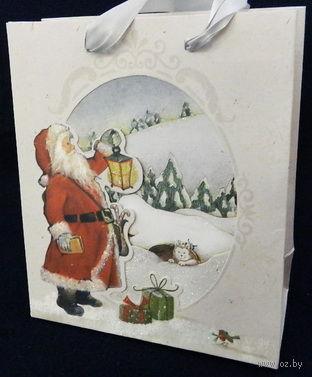 """Пакет бумажный подарочный """"Дед Мороз"""" (33х43х10 см) — фото, картинка"""