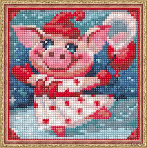 """Алмазная вышивка-мозаика """"Веселая свинка"""" (150x150 мм) — фото, картинка"""