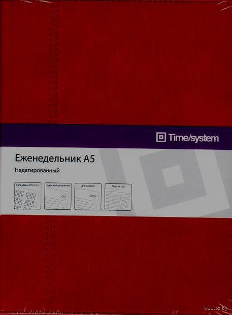 """Еженедельник Time-system """"Memory"""" недатированный (А5, bordo, slim wave)"""