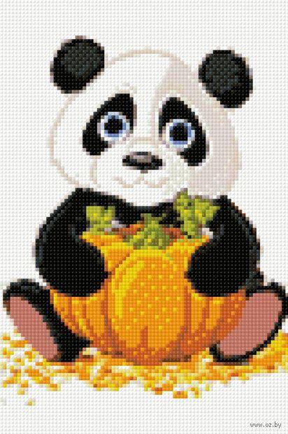"""Алмазная вышивка-мозаика """"Панда с тыквой"""" (200х300 мм) — фото, картинка"""