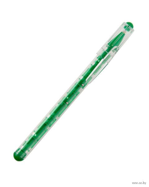 """Ручка шариковая синяя """"Лабиринт"""" (зеленый корпус)"""