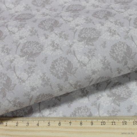 """Ткань """"Винтажные гортензии"""" (48х50 см; бежево-коричневый; арт. AM629008) — фото, картинка"""