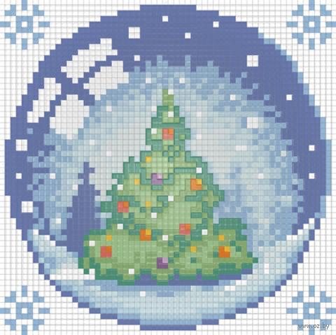 """Алмазная вышивка-мозаика """"Новогодний шарик с елкой"""" (150х150 мм) — фото, картинка"""