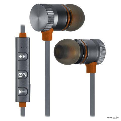 Гарнитура беспроводная Defender OutFit B710 (черно-оранжевая) — фото, картинка