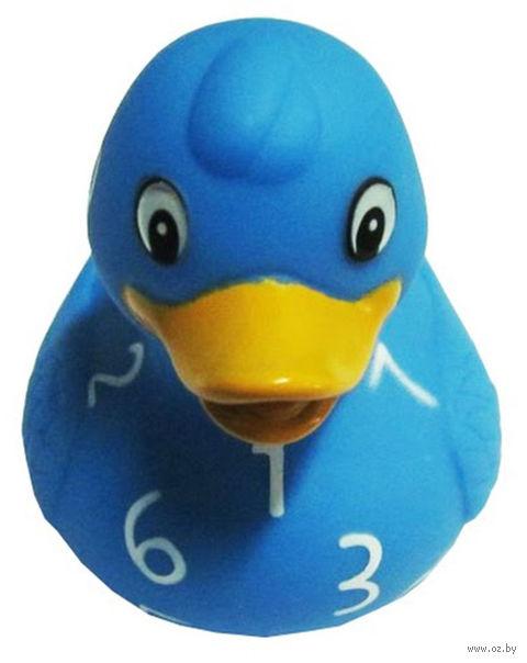 """Игрушка для купания """"Резиновый утенок. Голубой в циферку"""""""