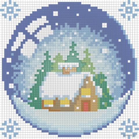 """Алмазная вышивка-мозаика """"Новогодний шарик с домиком"""" (150х150 мм) — фото, картинка"""