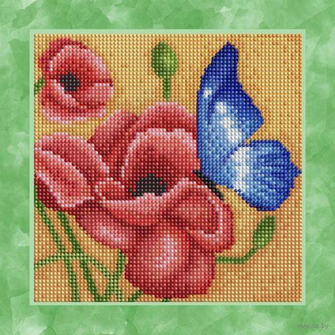 "Алмазная вышивка-мозаика ""Бабочка на маке"" (250х250 мм) — фото, картинка"
