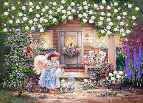 "Вышивка лентами ""Ангельский дворик"" (360х260 мм) — фото, картинка"
