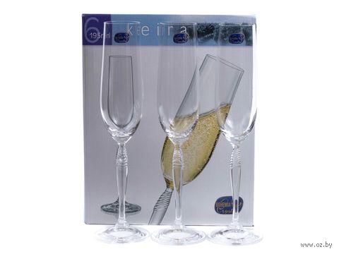"""Бокал для шампанского стеклянный """"Keira"""" (6 шт.; 195 мл) — фото, картинка"""