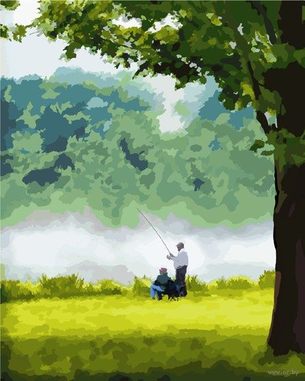 "Картина по номерам ""На рыбалке"" (400x500 мм) — фото, картинка"