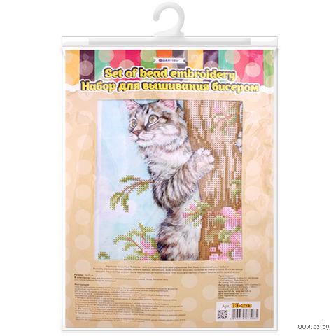 """Вышивка бисером """"Кот на дереве"""" — фото, картинка"""