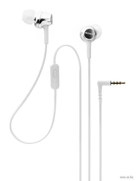 Наушники с микрофоном Sony MDR-EX155APW (белые) — фото, картинка