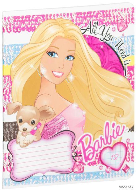 """Тетрадь в крупную клетку """"Barbie"""" 12 листов"""