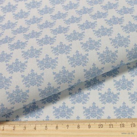 "Ткань ""Винтажные гортензии"" (48х50 см; серо-синий; арт. AM629019) — фото, картинка"