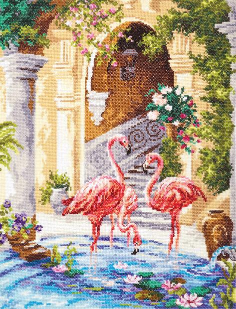 """Вышивка крестом """"Розовые фламинго"""""""