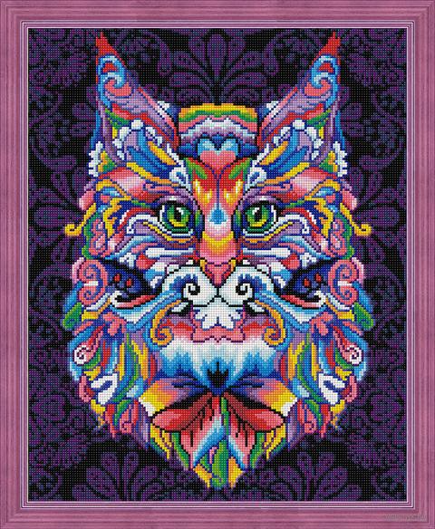 "Алмазная вышивка-мозаика ""Мистический кот"" (400х500 мм) — фото, картинка"