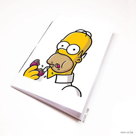 """Блокнот белый """"Гомер Симсон"""" А5 (002)"""