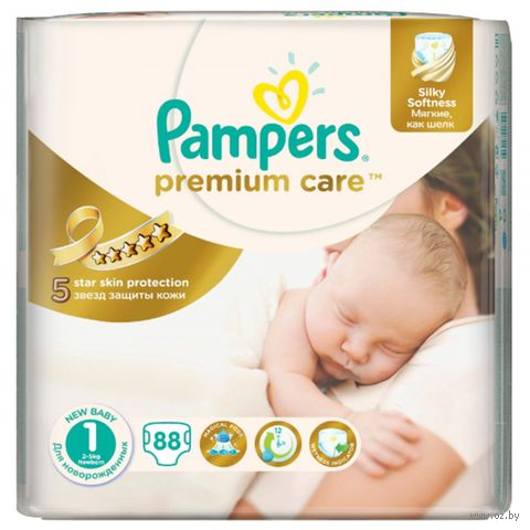"Подгузники ""Pampers Premium Care Newborn"" (2-5 кг, 88 шт)"