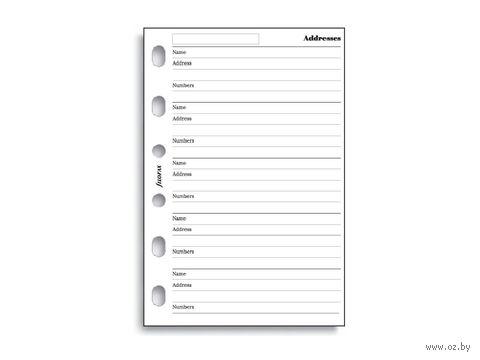 "Комплект бланков Filofax ""Адреса и телефоны"" (pocket, white, 20 листов)"