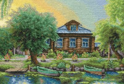 "Вышивка крестом ""Рыбацкая деревня"" (325x235 мм) — фото, картинка"