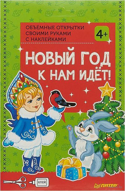 Объёмные открытки своими руками с наклейками. Новый год к нам идёт! — фото, картинка