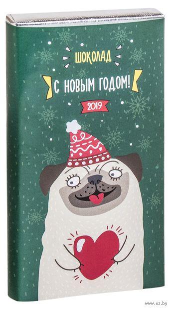 """Плитка кондитерская """"Новый год. Мопс"""" (50 г) — фото, картинка"""