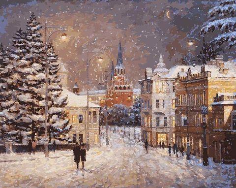 "Картина по номерам ""Снег на Волхонке"" (400х500 мм) — фото, картинка"