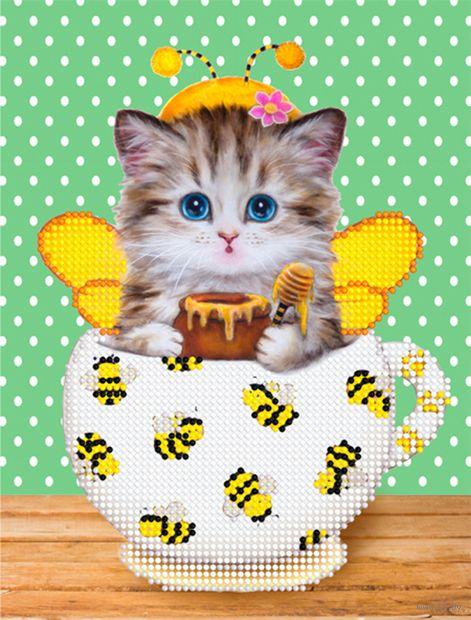 """Алмазная вышивка-мозаика """"Котенок в кружке. Пчелки"""" (250х190 мм) — фото, картинка"""