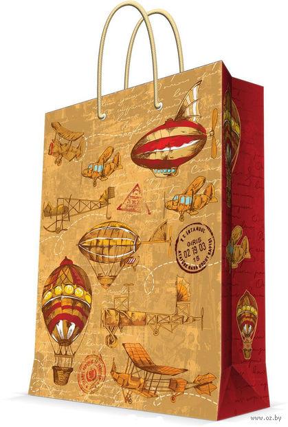 """Пакет бумажный подарочный """"Самолеты и дирижабли"""" (11х13,7х6,2 см; арт. 44167) — фото, картинка"""
