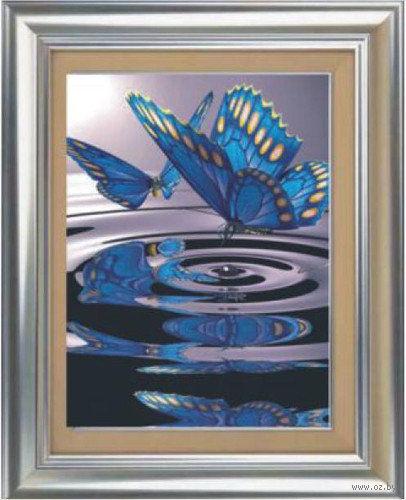 "Алмазная вышивка-мозаика ""Бабочки на воде"" (500х700 мм) — фото, картинка"