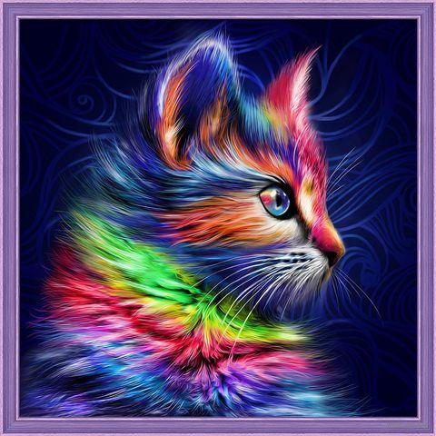 """Алмазная вышивка-мозаика """"Разноцветный котенок"""" (300х300 мм) — фото, картинка"""