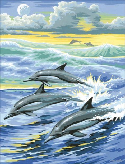 """Алмазная вышивка-мозаика """"Семья дельфинов"""""""