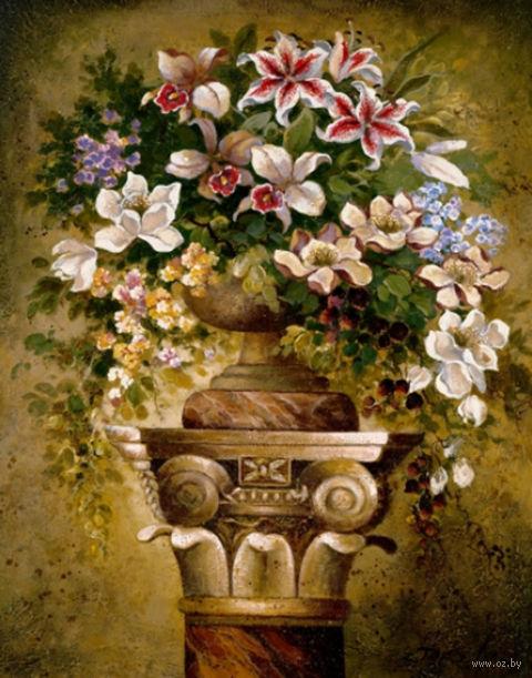 "Алмазная вышивка-мозаика ""Цветы на пьедестале"" (500х600 мм) — фото, картинка"