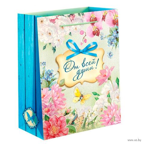 """Пакет бумажный подарочный """"От всей души"""" (11х14х5 см; арт. 10733068)"""