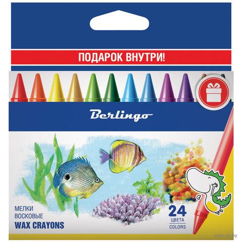 """Мелки восковые """"Рыбки"""" (24 цвета)"""