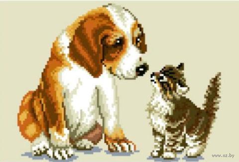 """Вышивка крестом """"Котенок и щенок"""" (210x300 мм) — фото, картинка"""