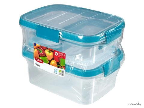 """Набор контейнеров для продуктов """"Fresh"""" (4 шт.; голубой) — фото, картинка"""