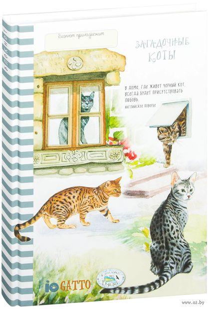 """Блокнот """"Загадочные коты (серый)"""" (А5) — фото, картинка"""