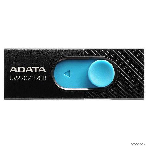 USB Flash Drive 32Gb A-Data UV220 (Black/Blue) — фото, картинка