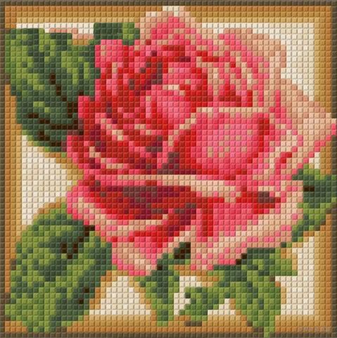 """Алмазная вышивка-мозаика """"Румяная роза"""" (150х150 мм) — фото, картинка"""