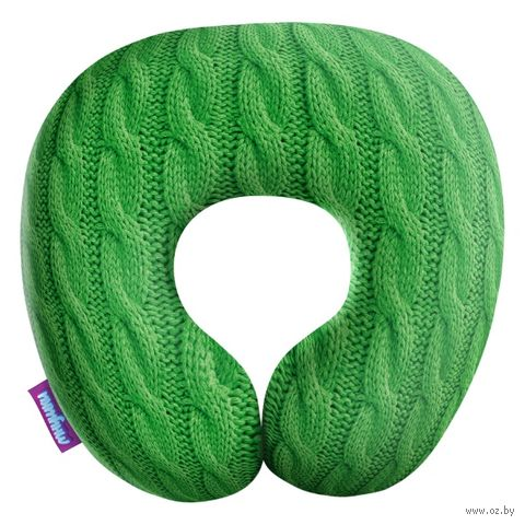 "Подушка под шею ""Вязаные косички"" (34х34 см; зелёная) — фото, картинка"